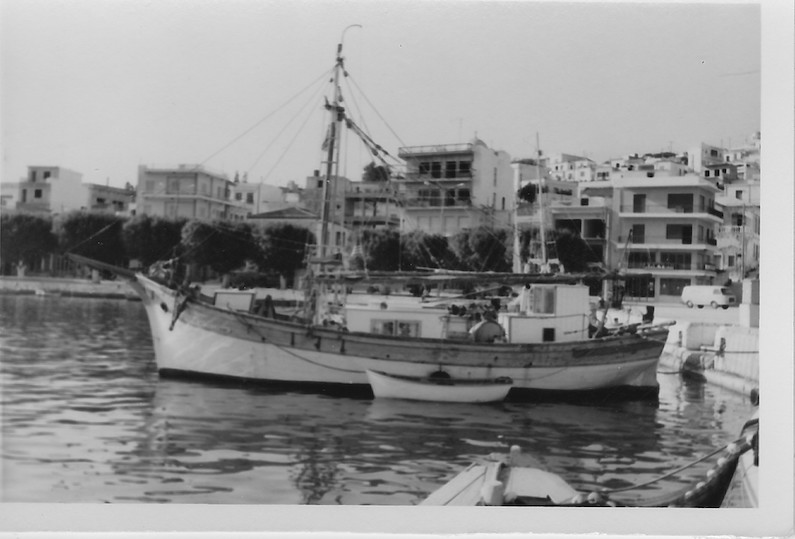 the boat tied up in Sitia, Crete