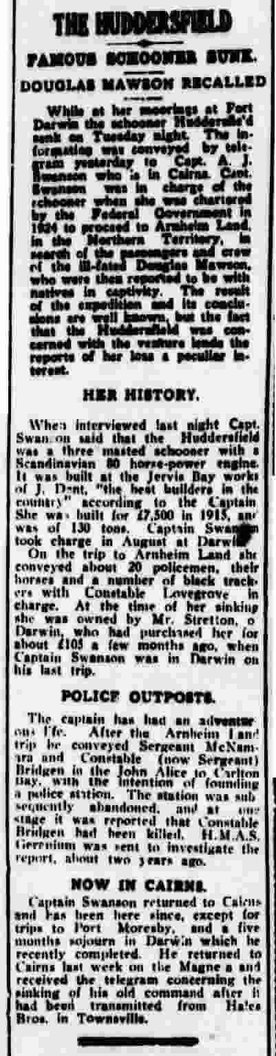 Huddersfield - Cairns Post 1928